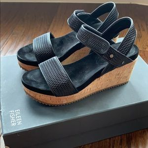 Eileen Fisher Sport Mesh Leather Wedge Sandals